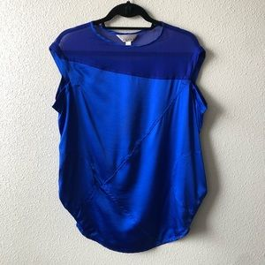 Zoa Electric Blue Silk Top W/Pockets & Mesh Detail